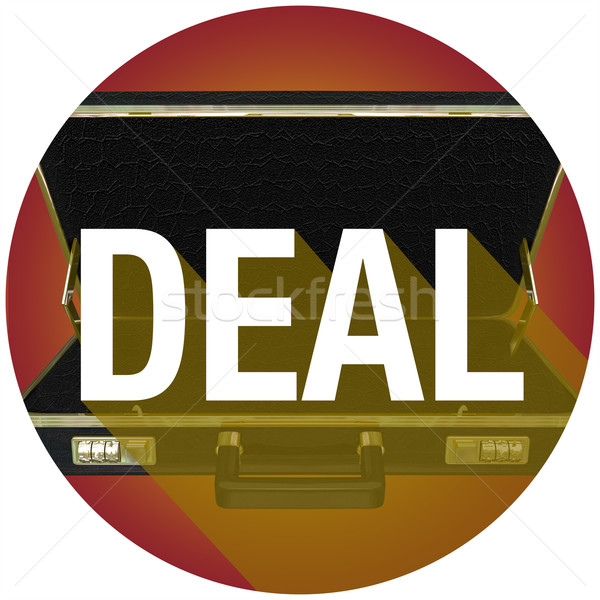 Deal Briefcase Word Long Shadow Contract Customer Circle Stock photo © iqoncept