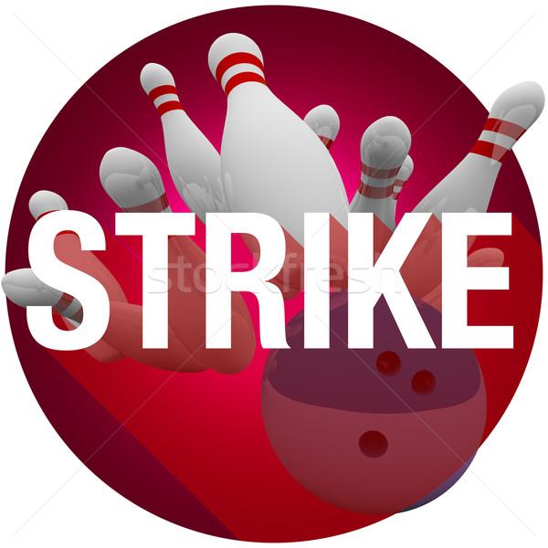 Strajk bowling ball słowo długo cień kółko Zdjęcia stock © iqoncept