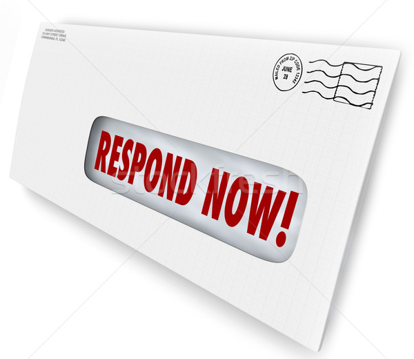 Respond Now Envelpe Mailer Letter Immediate Reply Needed Stock photo © iqoncept