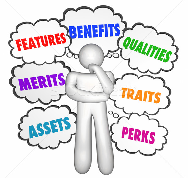 Features Benefits Qualities Selling Customer Thinking Thought Cl Stock photo © iqoncept