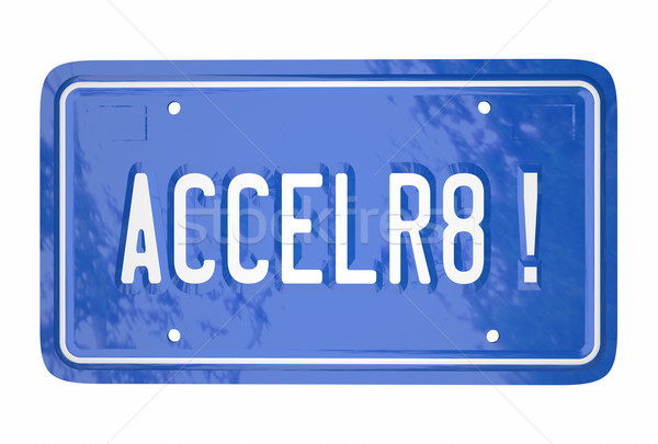 Accelerate Drive Fast Speed Racing Car License Plate Word Stock photo © iqoncept