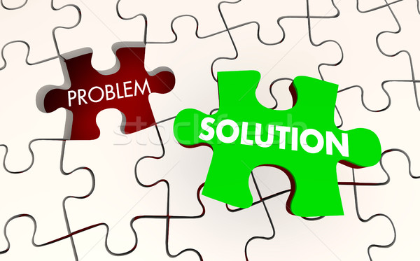 Problem Solution Solved Puzzle Piece Fixed 3d Illustration Stock photo © iqoncept
