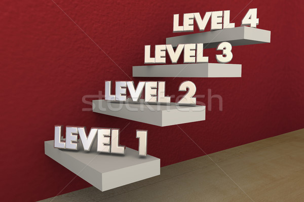 Levels Steps Stairs 1 to 4 Rising Climbing Higher 3d Illustratio Stock photo © iqoncept