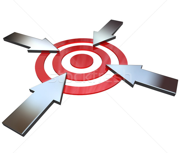 Four Competing Arrows Point at Bulls-Eye Target  Stock photo © iqoncept
