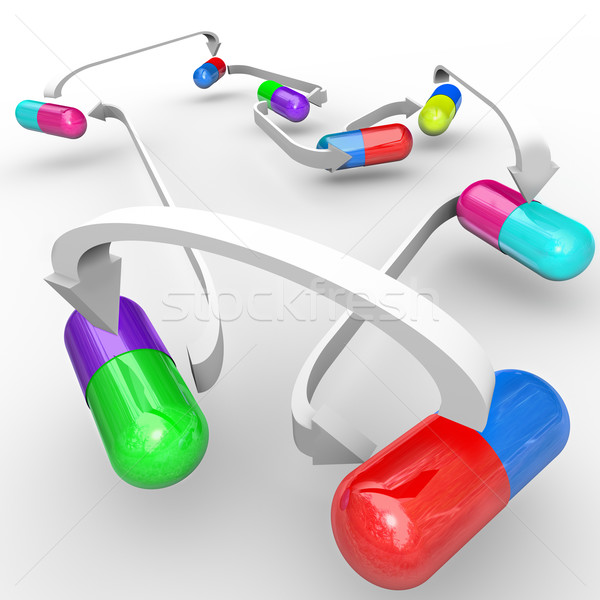 Medicine Drug Interactions Capsules and Pills Connected Stock photo © iqoncept