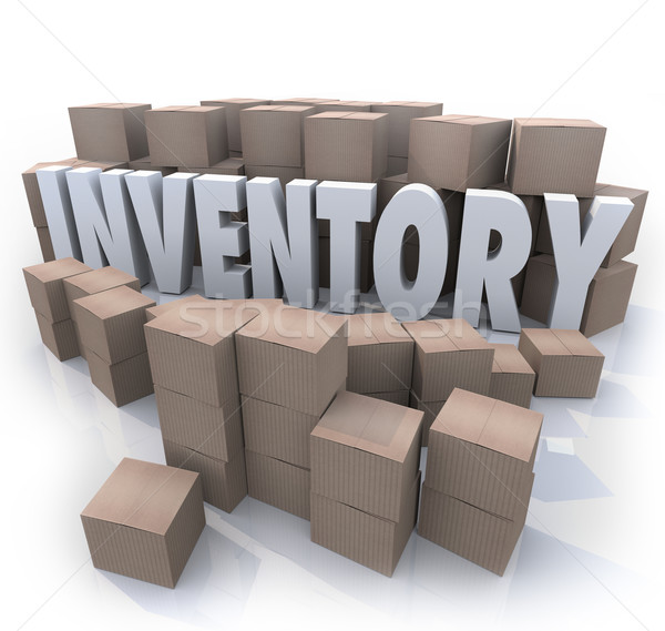 Inventory Word Stockpile Cardboard Boxes Oversupply Surplus Stock photo © iqoncept