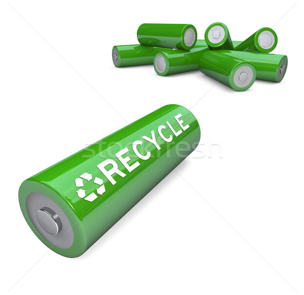 Green Batteries - Recycling Symbol on AA Battery Stock photo © iqoncept
