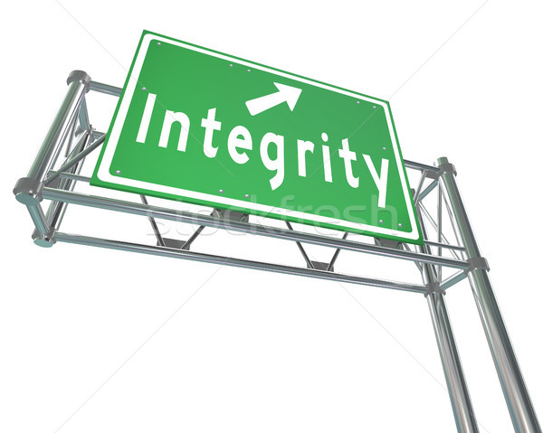 Integrity Freeway Road Sign Virtue Reputation Trust Stock photo © iqoncept