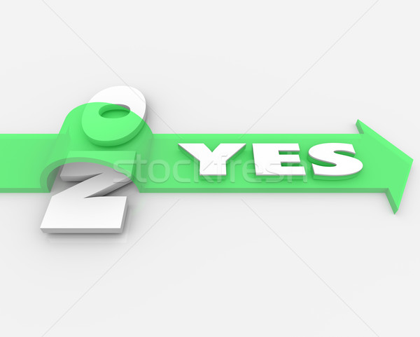 Yes Over No Arrow Jumps Word Approval Agreement Stock photo © iqoncept