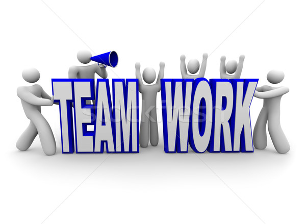 Team of People Build Word Teamwork Stock photo © iqoncept