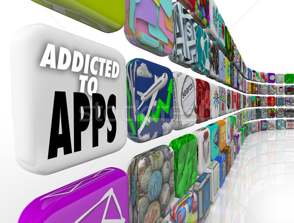 Addicted to Apps Words Mobile Software Tile Display Stock photo © iqoncept