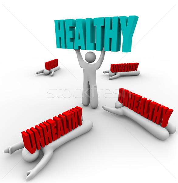 Zdrowych vs niezdrowy dobre zdrowia Zdjęcia stock © iqoncept