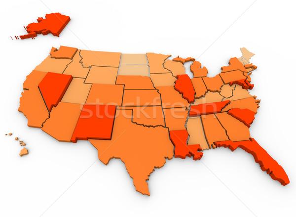 насильственный карта 3D Соединенные Штаты Сток-фото © iqoncept