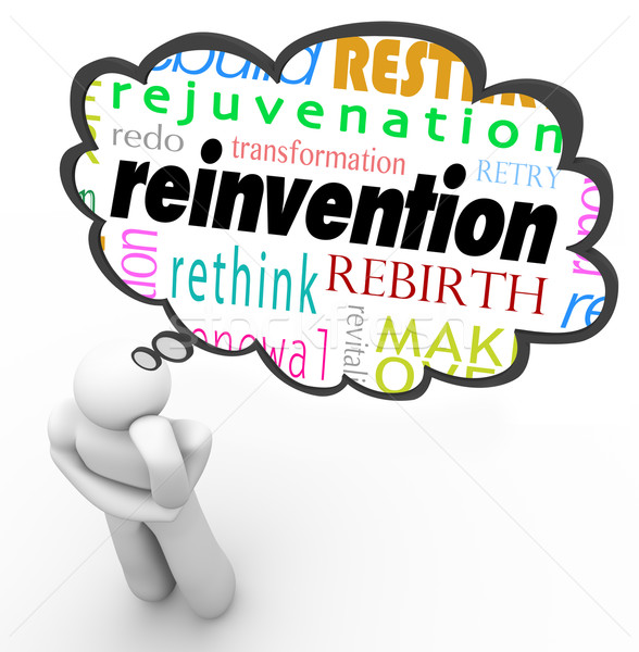 Reinvention Word Thought Cloud Thinker Planning Change Stock photo © iqoncept