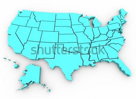 Сток-фото: Соединенные · Штаты · карта · 3d · визуализации · Америки · цвета · США