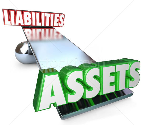 Stock photo: Assets Vs Liabilities Balance Scale Net Worth Money Wealth Value