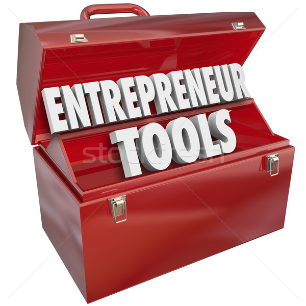 Entrepreneur Tools Red Toolbox Skills Ideas Information Help Stock photo © iqoncept