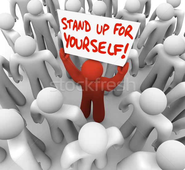 Stand Up For Yourself Man Holding Sign Rebel Rights Stock photo © iqoncept