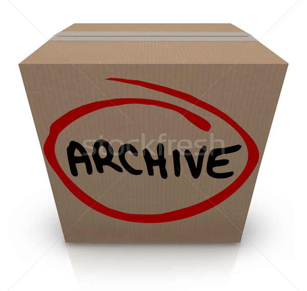 Archive Cardboard Box Record File Storage Packed Up Put Away Stock photo © iqoncept