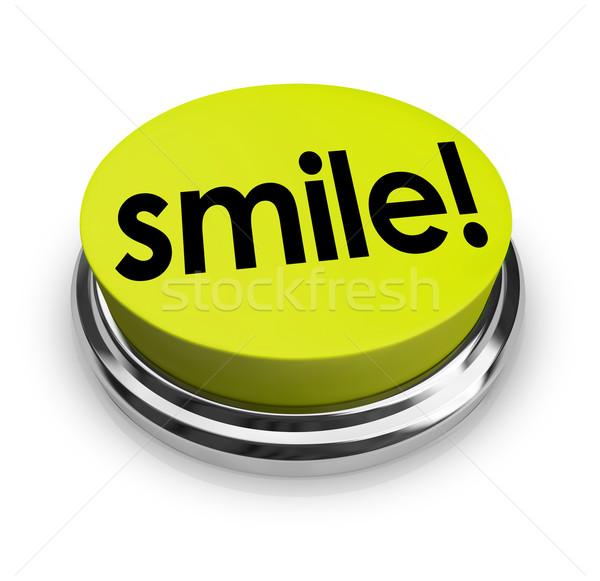 Glimlach woord Geel knop grappig humor Stockfoto © iqoncept