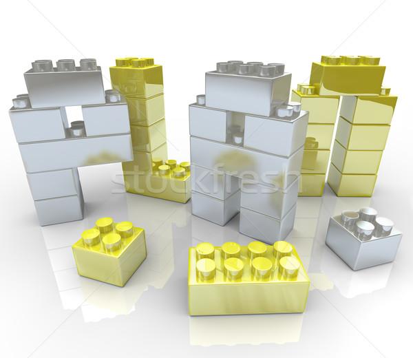 épület terv építőkockák szó teremtés új Stock fotó © iqoncept