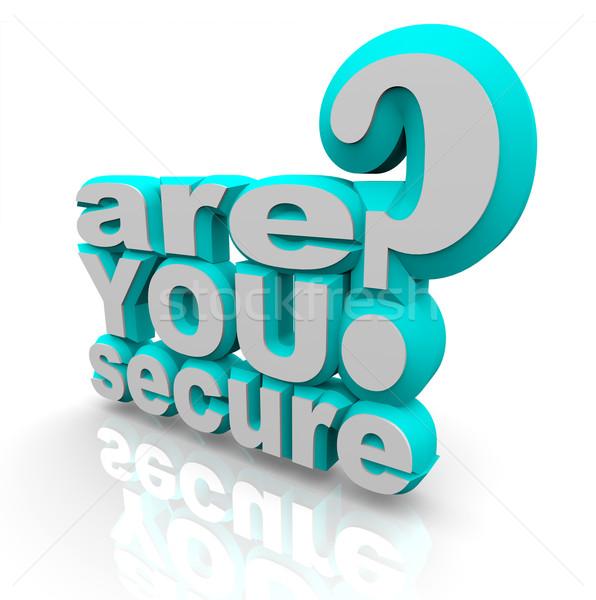 Beveiligde 3D woorden brieven business veiligheid Stockfoto © iqoncept