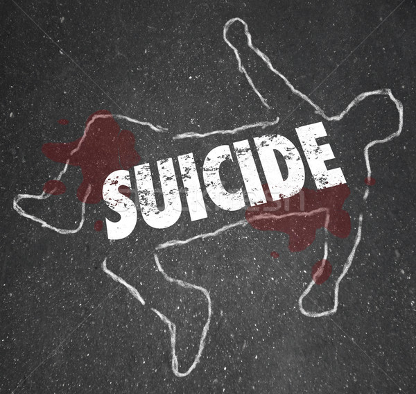 Suicide Chalk Outline Dead Body Depressed Person End Life Stock photo © iqoncept