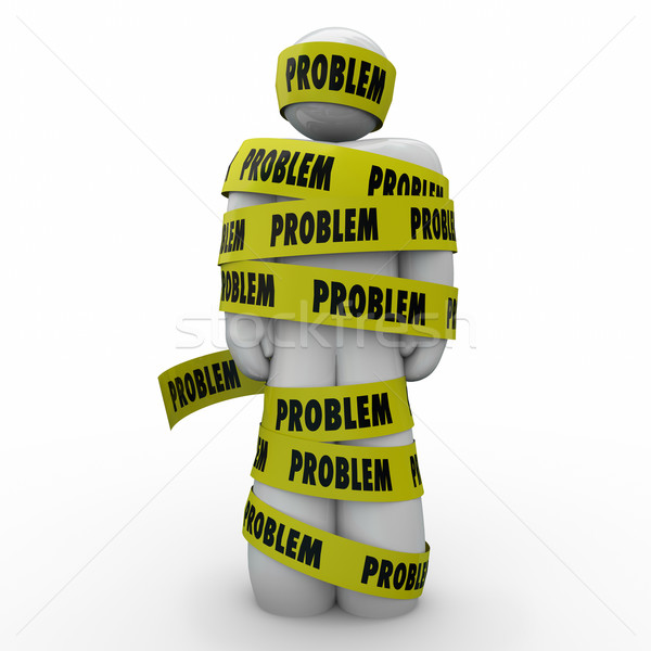 Problem Word Yellow Tape Man Wrapped Issue Situation Trouble Stock photo © iqoncept