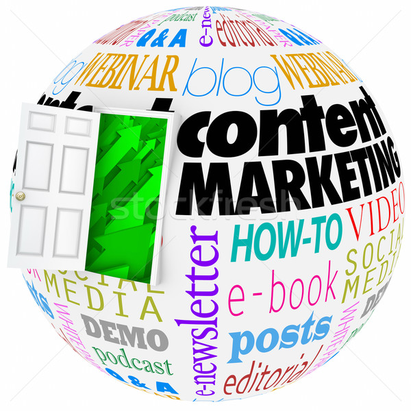 Content Marketing Website Online Articles Information Video Comm Stock photo © iqoncept