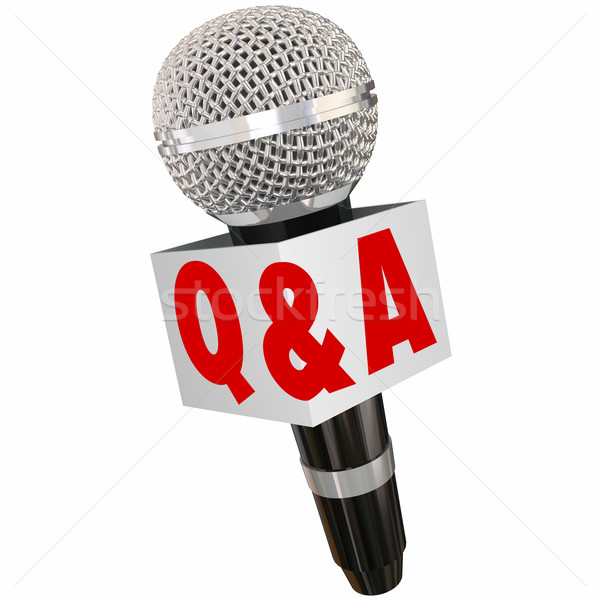 Mikrofon wywiad pytania odpowiedzi mówić reporter Zdjęcia stock © iqoncept