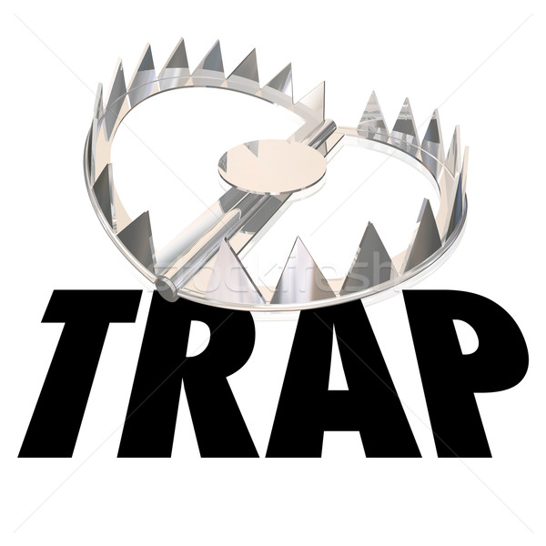 Steel Bear Trap Word Caught Danger Risk Warning Stock photo © iqoncept