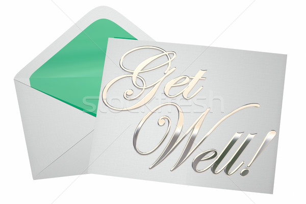 Get Well Soon Wishes Card Note Letter Envelope 3d Illustration Stock photo © iqoncept
