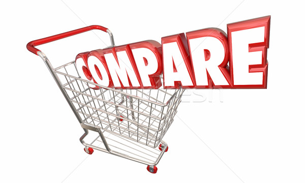 Carrinho de compras comparação encontrar melhor preço valor 3D Foto stock © iqoncept