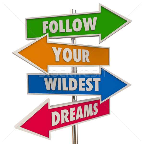 Follow Your Wildest Dreams Hopes Desires Signs 3d Illustration Stock photo © iqoncept