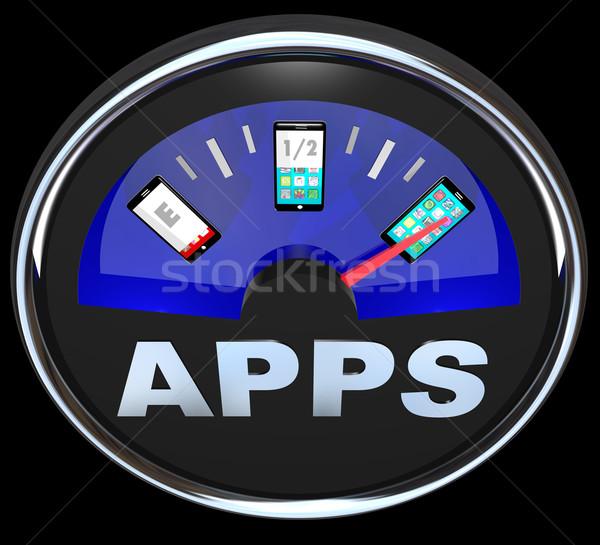 Apps Fuel Gauge Measures Applications in Smart Phone  Stock photo © iqoncept