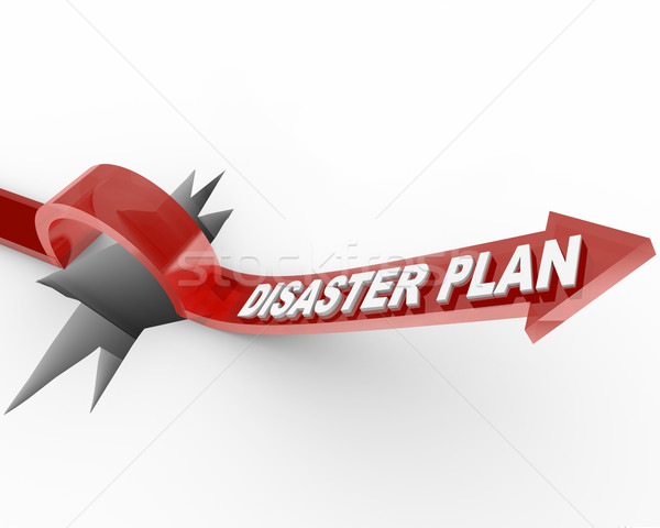 Disaster Plan - Arrow Jumping Over Hole Stock photo © iqoncept