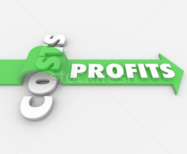 Profits Word Arrow Jumping Over Costs Revenue Stock photo © iqoncept