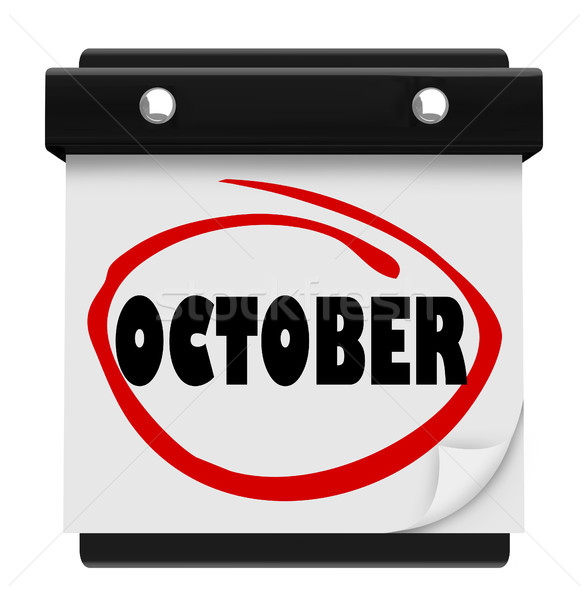 October Word Wall Calendar Change Month Schedule Stock photo © iqoncept