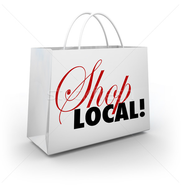 Shop Local Support Community Shopping Bag Words Stock photo © iqoncept