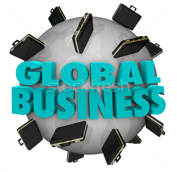 Global Business Words Briefcases Around World Expansion Stock photo © iqoncept