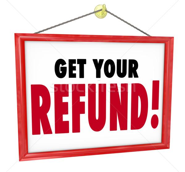 Viszzafizetés felirat pénz visszatérés hát könyvelő Stock fotó © iqoncept