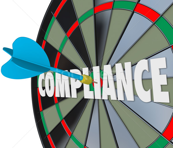 Compliance Word Dart Board Direct Hit Follow Rules Laws Guidelin Stock photo © iqoncept