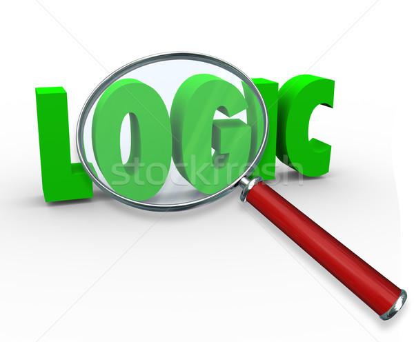 Logika szó nagyító 3D levelek keres Stock fotó © iqoncept