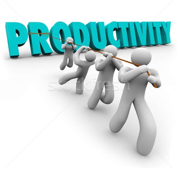 Productivity Word Pulled Lifted Workers Improve Increase Output  Stock photo © iqoncept