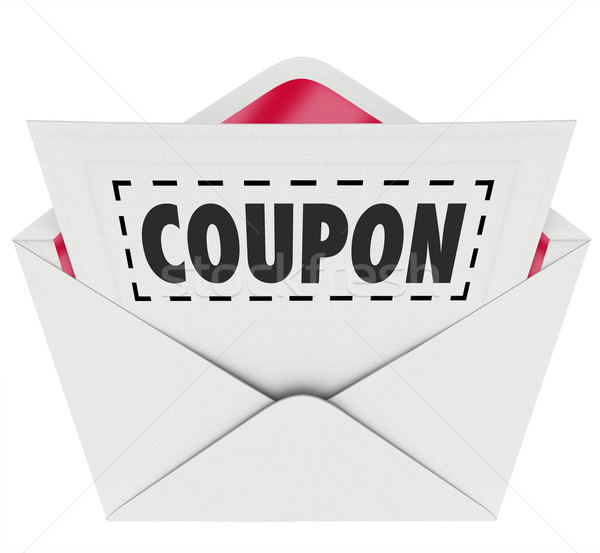 Stock photo: Coupon Envelope Cut Out Dotted Line Special Offer Sale