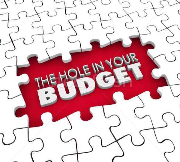 Agujero presupuesto financieros deuda quiebra rompecabezas Foto stock © iqoncept