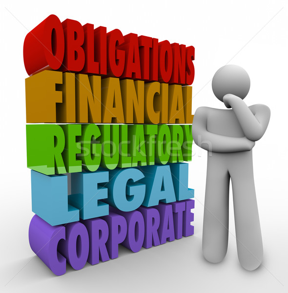 Obligations Thinker 3D Words Financial Regulatory Legal Corporat Stock photo © iqoncept