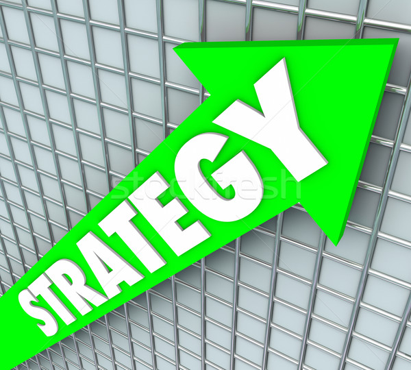 Strategy Word Green Arrow Rising Improve Increase Results Stock photo © iqoncept