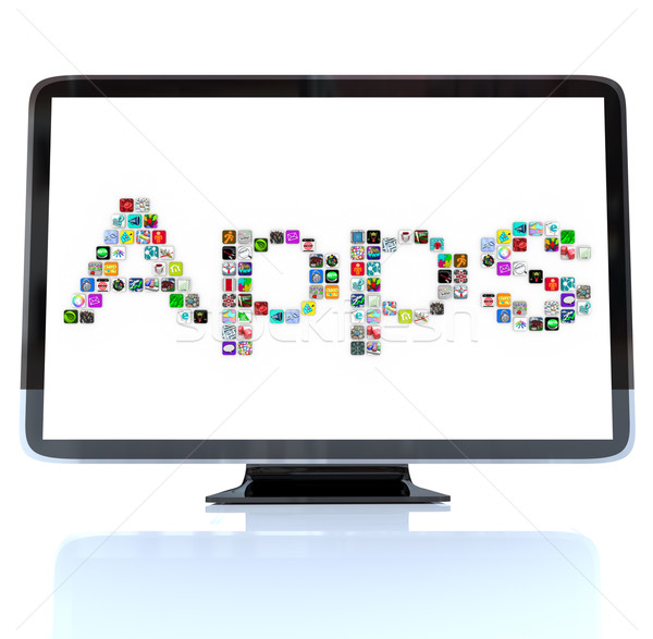 Apps Word Icons on Television Screen Stock photo © iqoncept