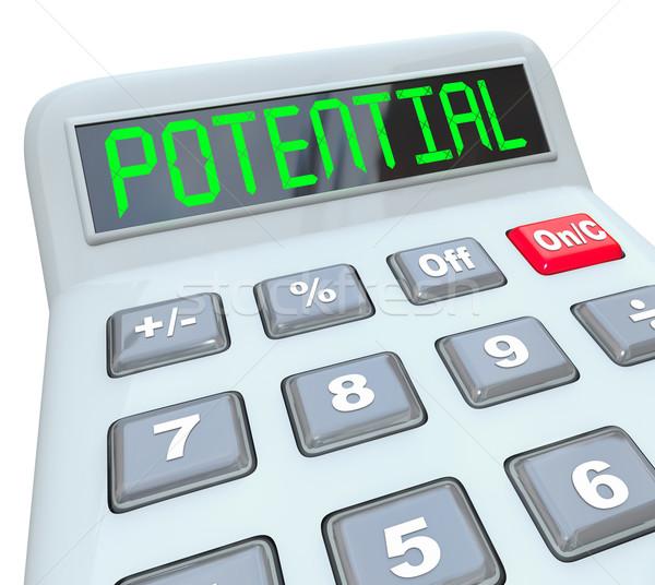 Potencjał słowo Kalkulator dotrzeć pełny zdolność Zdjęcia stock © iqoncept